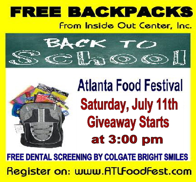 Atlanta Food Festival Free Back to School Supplies Backpack Giveaway